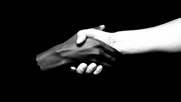 An illustration of two hands—one black, and one white—shaking.