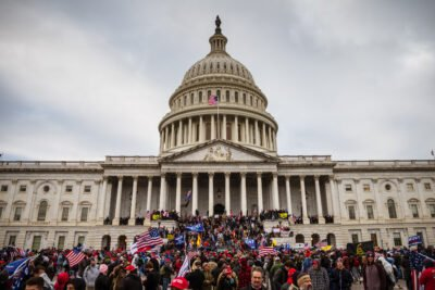Rioters on the front steps of the Capitol on Jan. 6, 2021