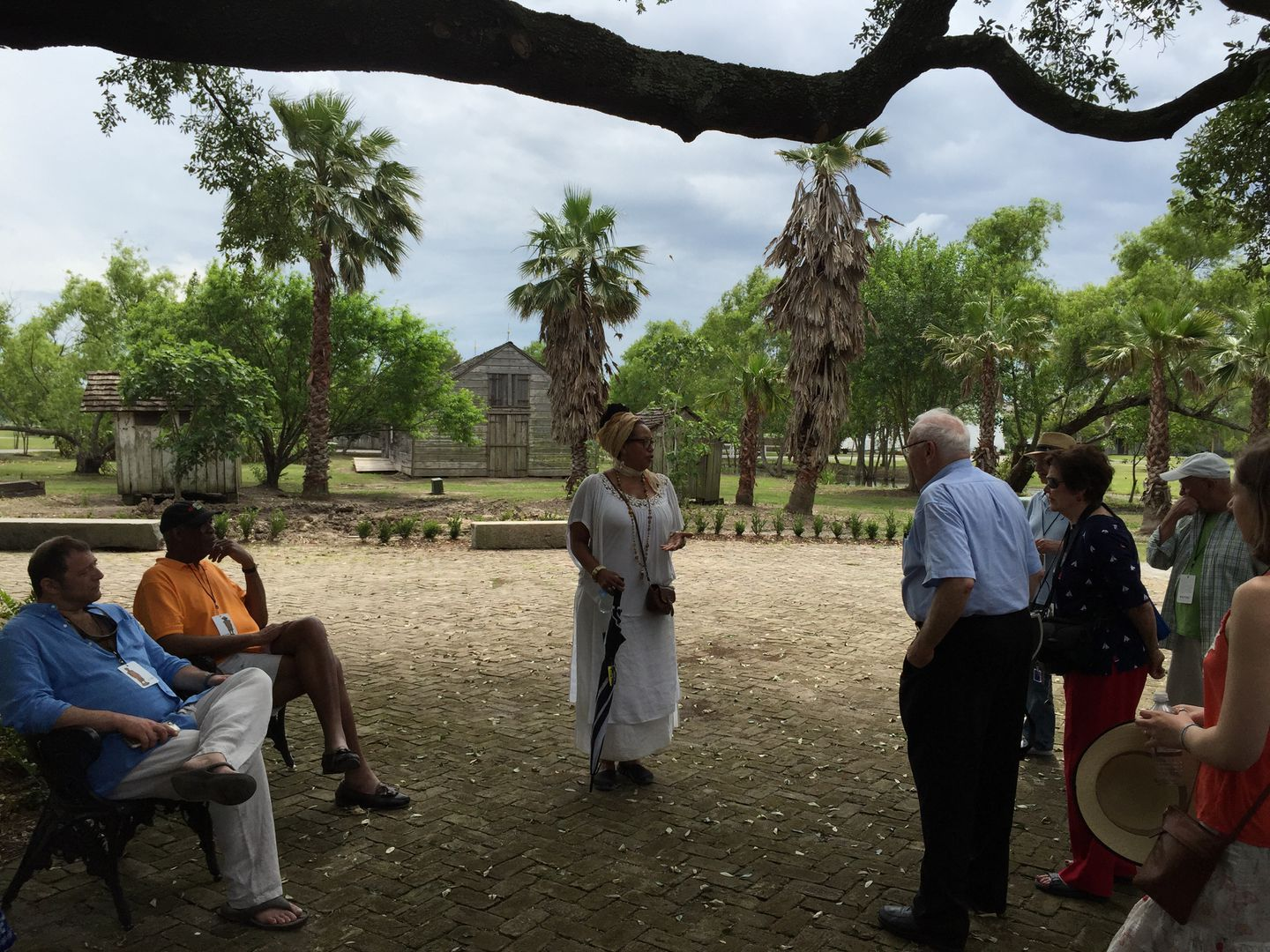 Whitney Plantation tour guide Mikhala Iversen answered questions from visitors.