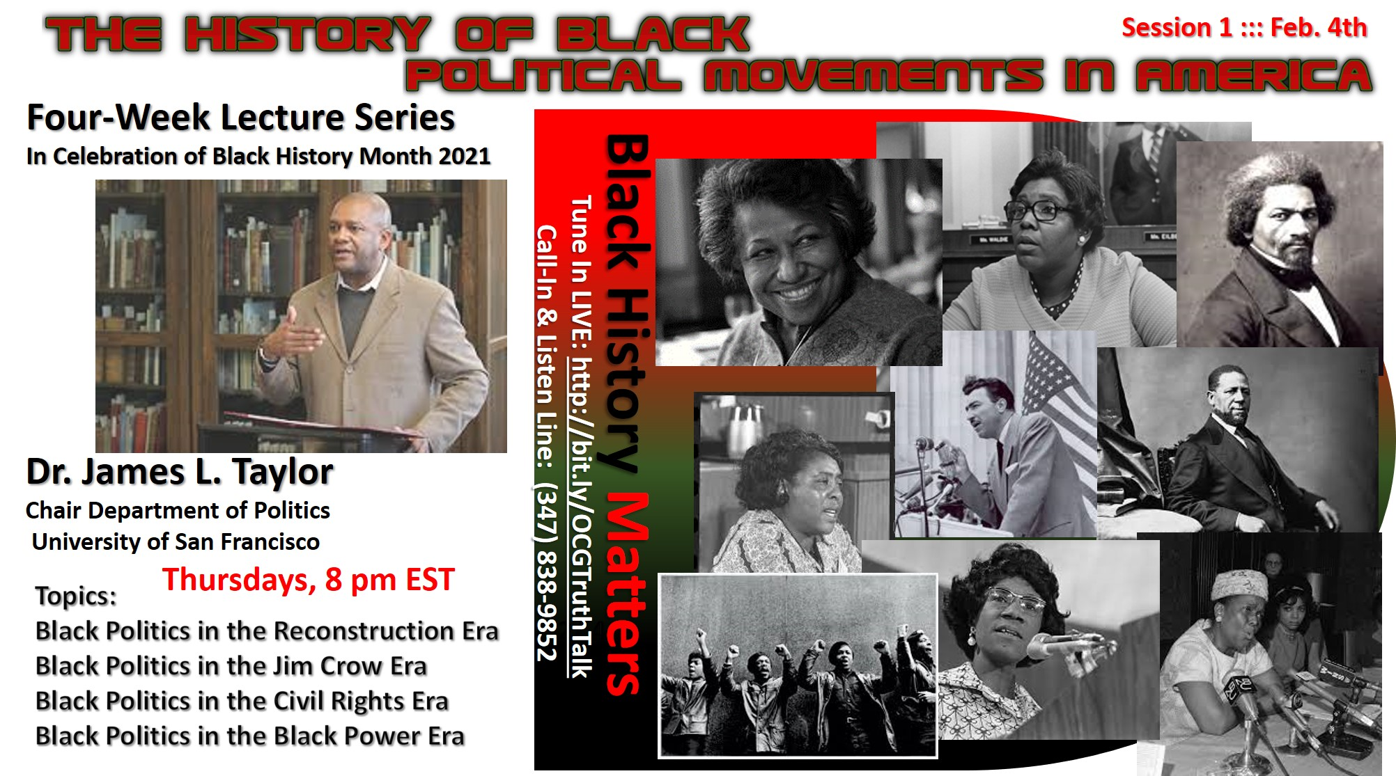 """The History of Black Political Movements in America""  ::: Four-Week Lecture Series ::: An OUR COMMON GROUND BHM Special  :::"