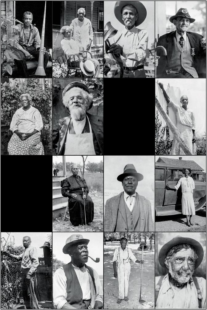 grid of 14 photographs of formerly enslaved people from FWP