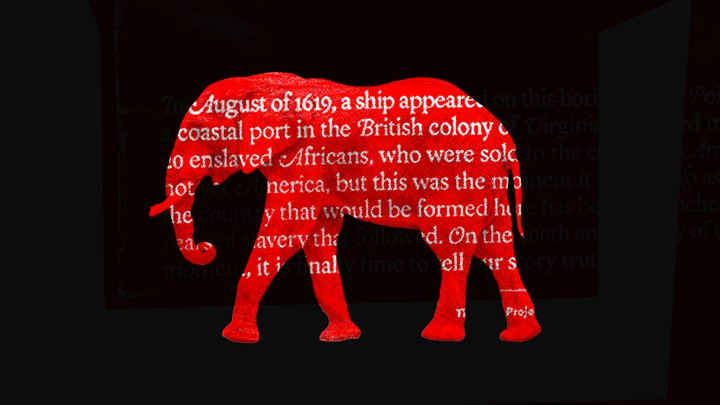 A red elephant with text from the 1619 project on top.